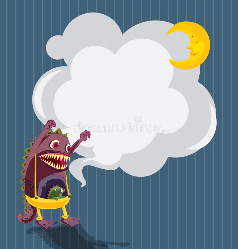 Download A Stationery With A Scary Monster And A Sleeping Moon Stock Vector - Illustration: 32676498