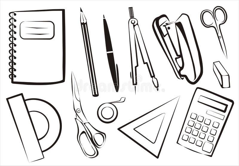 Stationery, school goods set. Of isolated equipment vector illustration