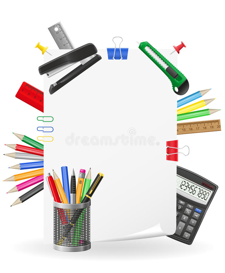 Stationery Set Icons Vector Illustration Stock Image