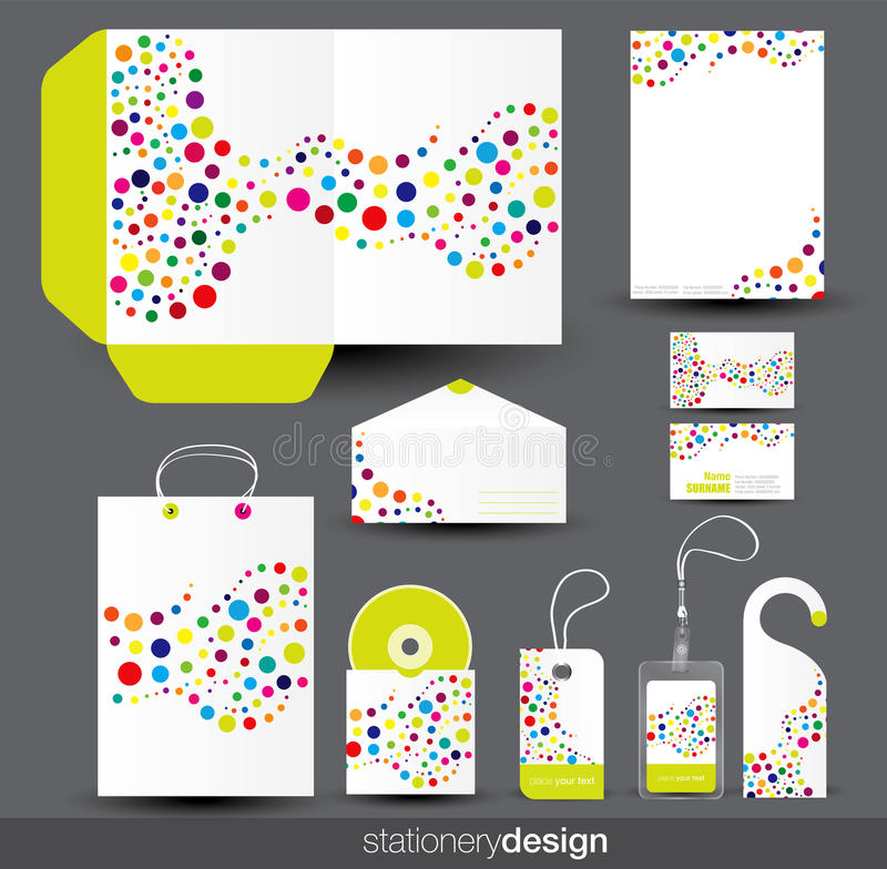 Stationery template design. With card, cd and envelope in vector format stock illustration