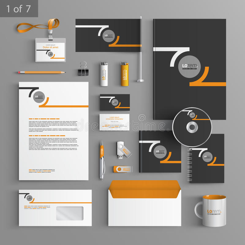 Stationery template design. Black stationery template design with orange round elements of structure. Documentation for business stock illustration