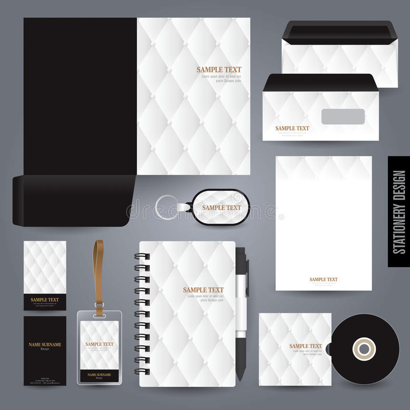 Stationery template design. Black and white concept vector illustration
