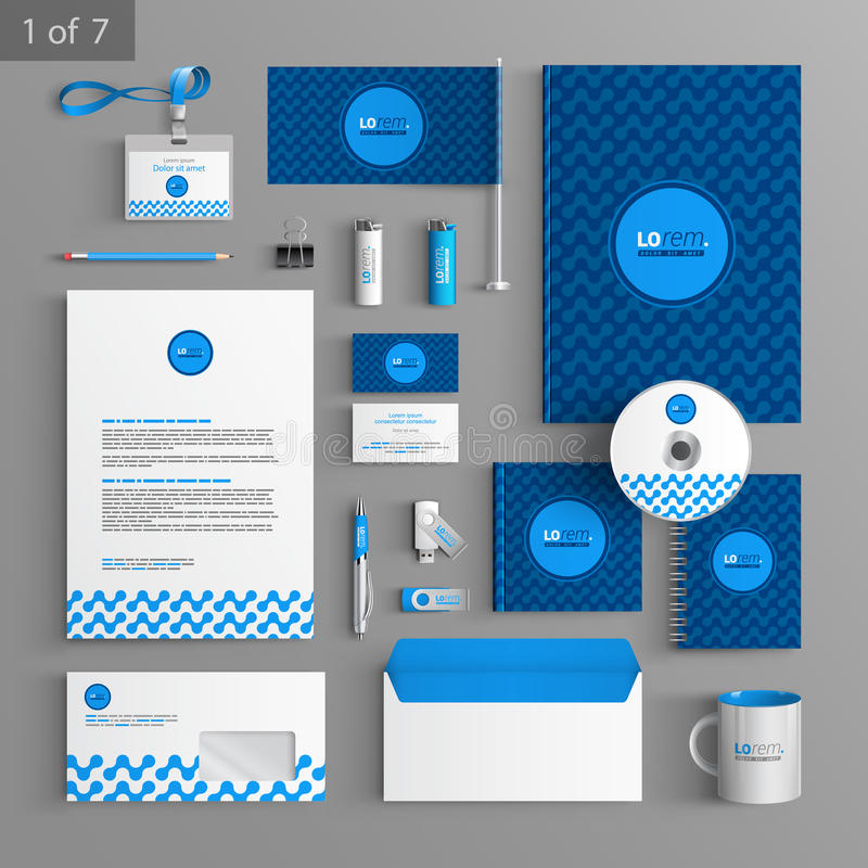 Stationery template design. Blue stationery template design with geometric pattern. Documentation for business royalty free illustration