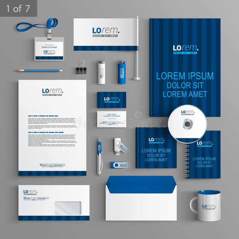 Stationery template design. Blue stationery template design with vertical lines. Documentation for business royalty free illustration