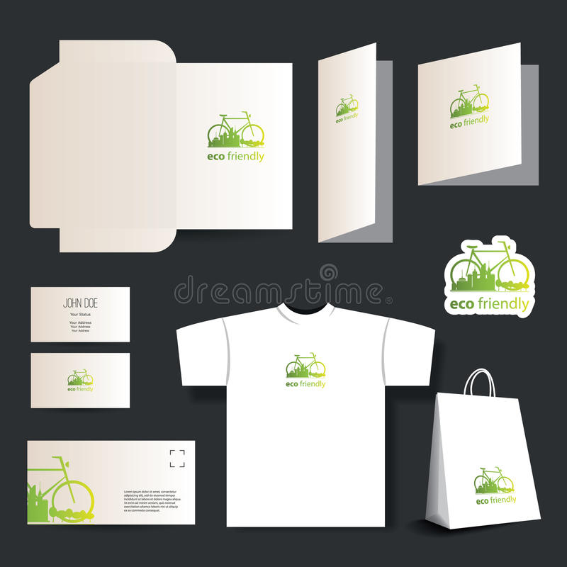 Stationery Template Design - Business Set. Green Eco Friendly Stationery Template Design and Business Set: Envelope, Business Card, Stationery, Notepaper royalty free illustration
