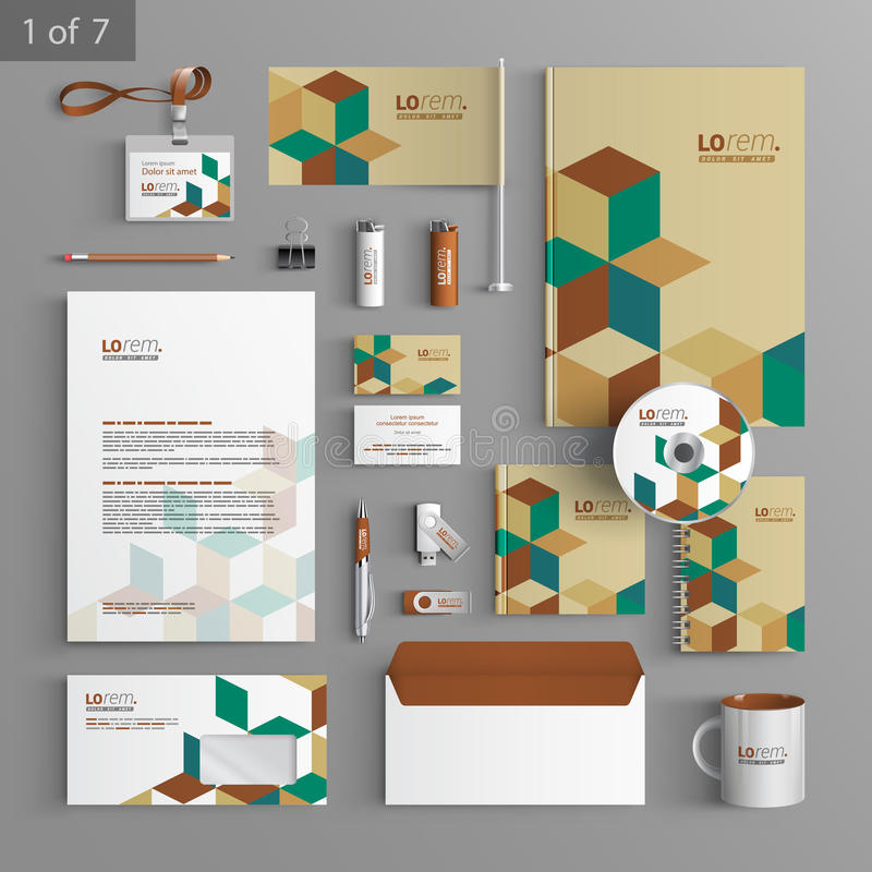 Stationery template design. With cubes and square elements. Documentation for business vector illustration