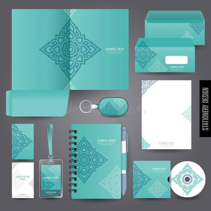 Stationery template design. Thai art concept stock illustration