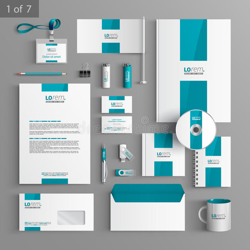 Stationery template design. White stationery template design with blue central element. Documentation for business stock illustration