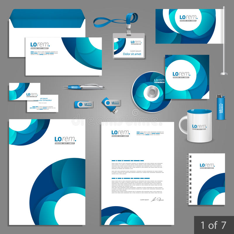 Stationery template design. White stationery template design with blue round elements. Documentation for business stock illustration