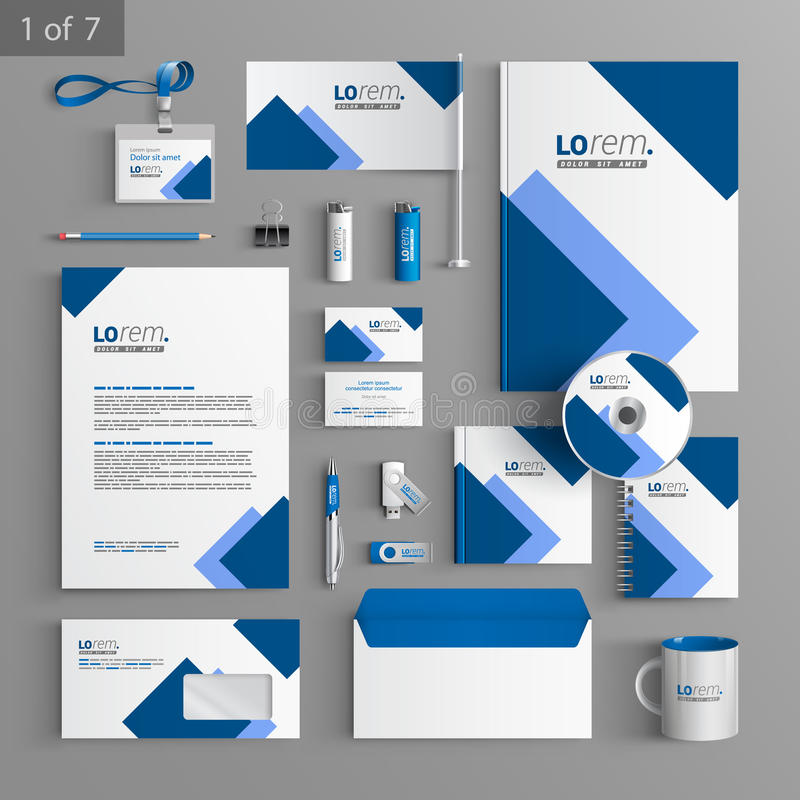 Stationery template design. White stationery template design with blue square elements. Documentation for business stock illustration