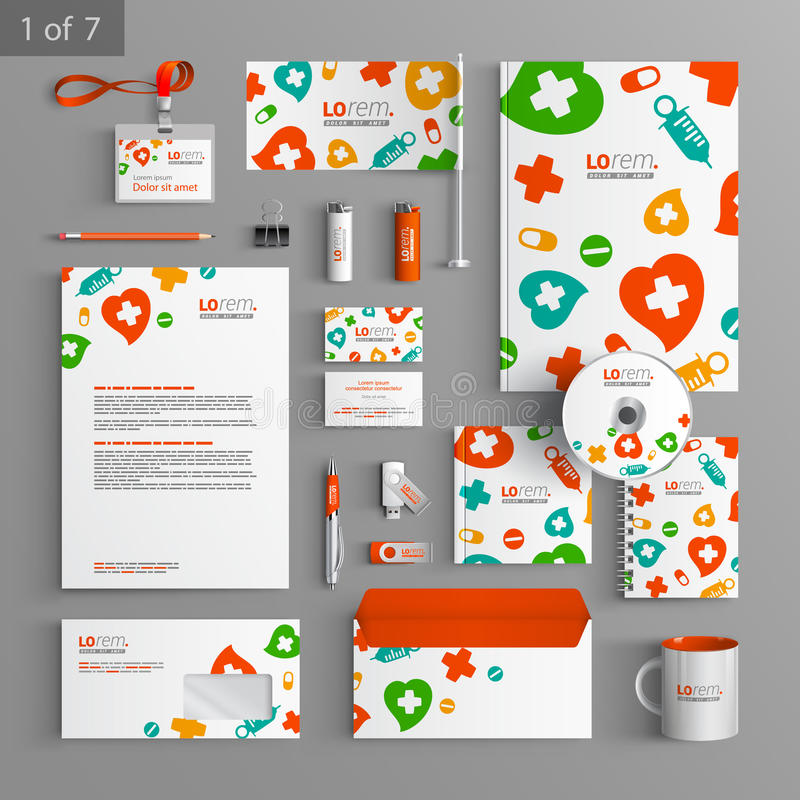 Stationery template design. White stationery template design with color medical elements. Documentation for business vector illustration