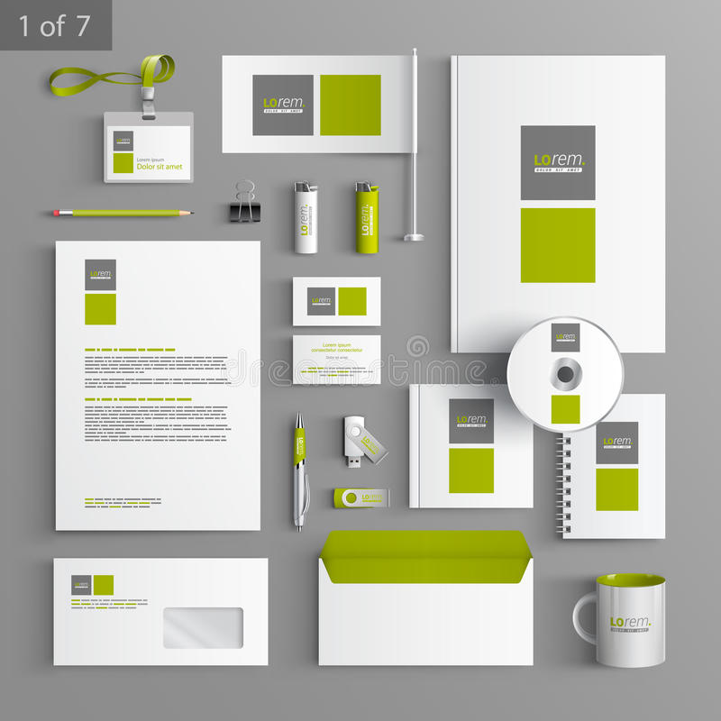 Stationery template design. White stationery template design with green and gray square elements. Documentation for business vector illustration