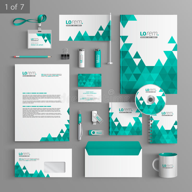 Stationery template design. White stationery template design with green triangles. Documentation for business vector illustration