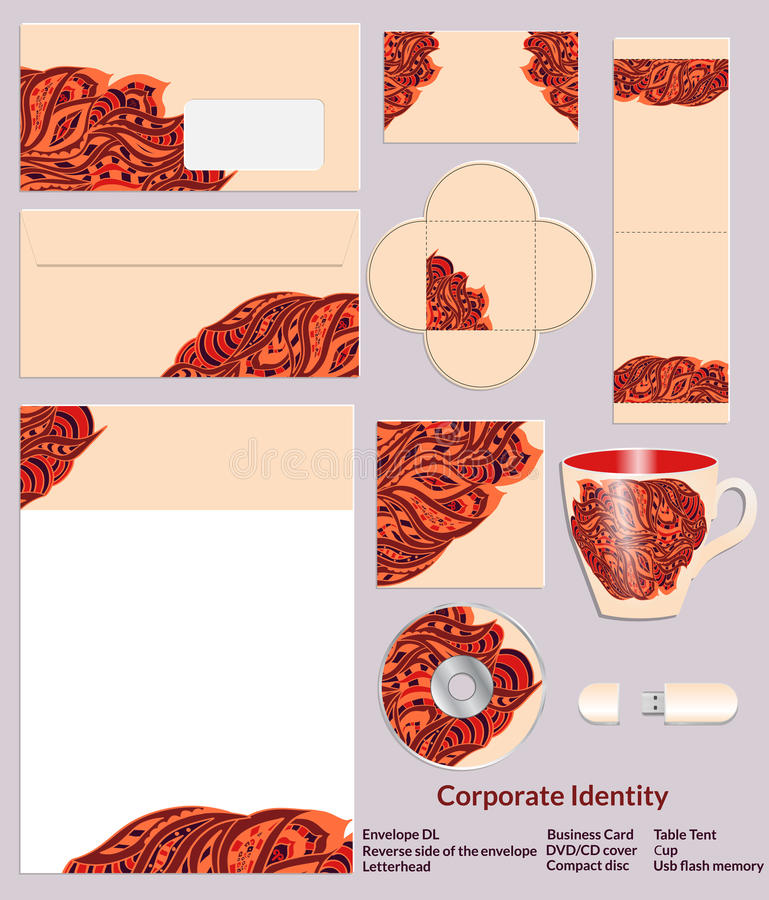 Stationery template design with zentangle ethnic patterns in henna colors. Set of samples for the companys business. stock illustration