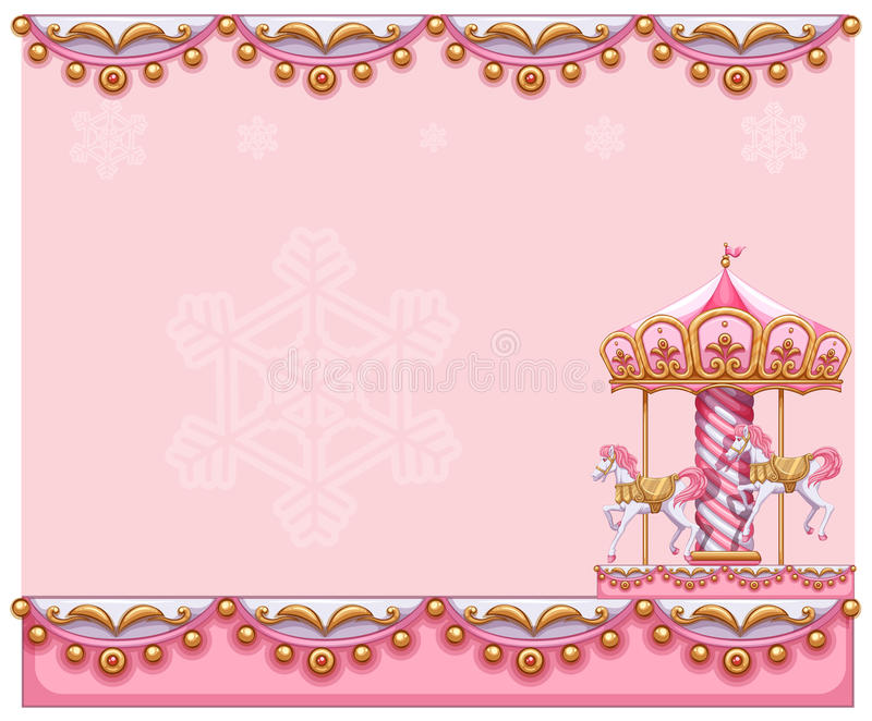 A stationery template with a merry-go-round ride. Illustration of a stationery template with a merry-go-round ride on a white background vector illustration