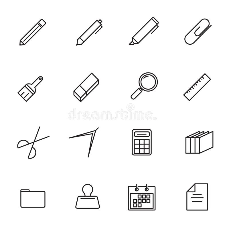 Stationery thin line icon set vector. Back to school and Class r stock illustration