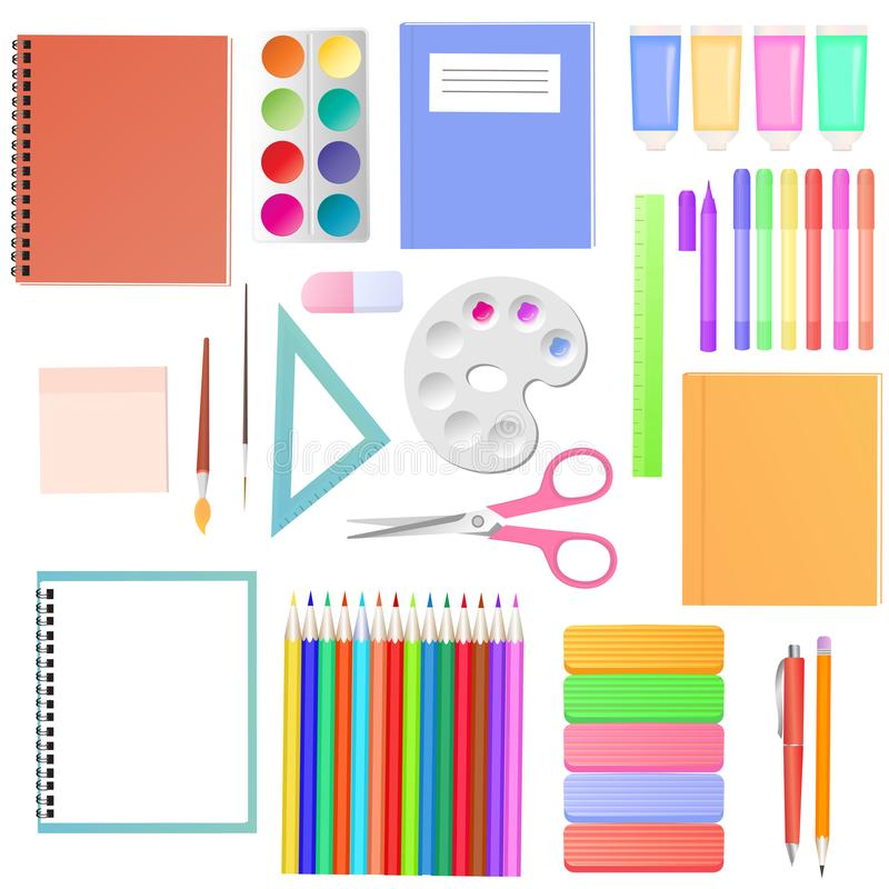 stationery Um grupo de fontes de escola para estudantes Materiais da arte para a faculdade criadora do ` s das crian?as ilustração stock