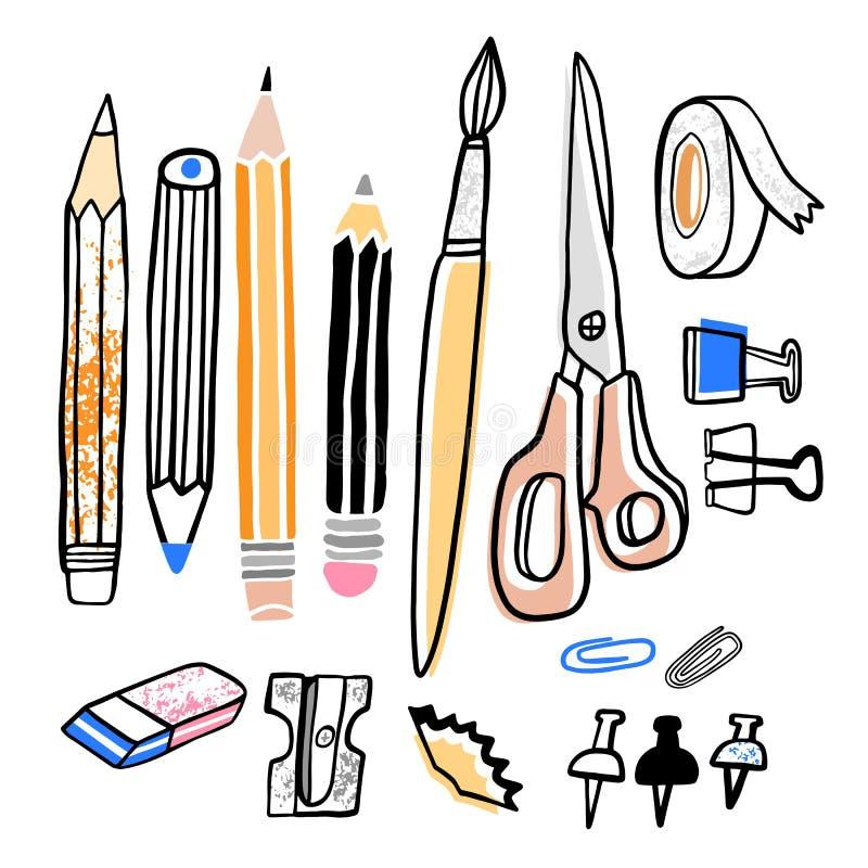 Free Stationery Vector Illustration. Pencil, Sharpener, Brush, Eraser Hand Drawn School Supplies Royalty Free Stock Photo - 151096005