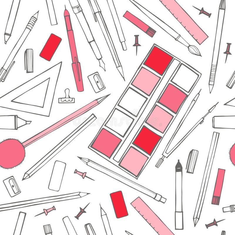 stationery Vector o teste padrão sem emenda ilustração do vetor