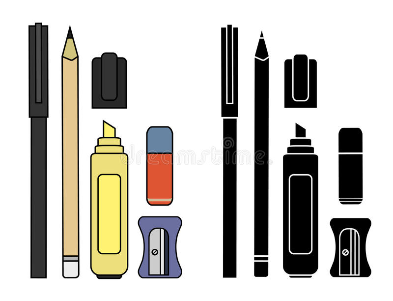 Stationery writing tools set. Color. Silhouette vector illustration