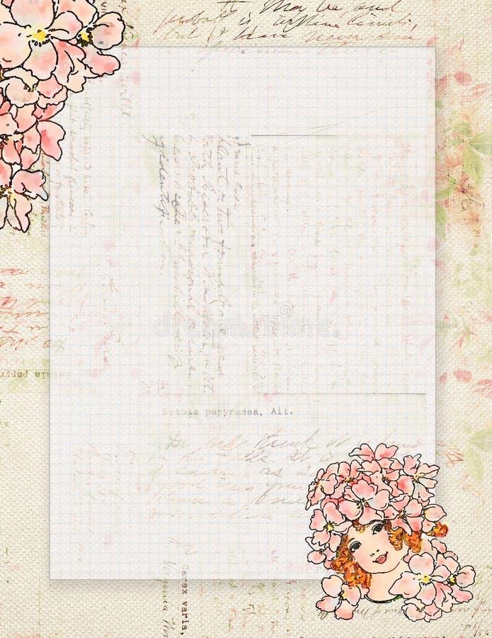 Stationnaire féerique ou fond de vintage de fleur chic minable imprimable de style illustration stock