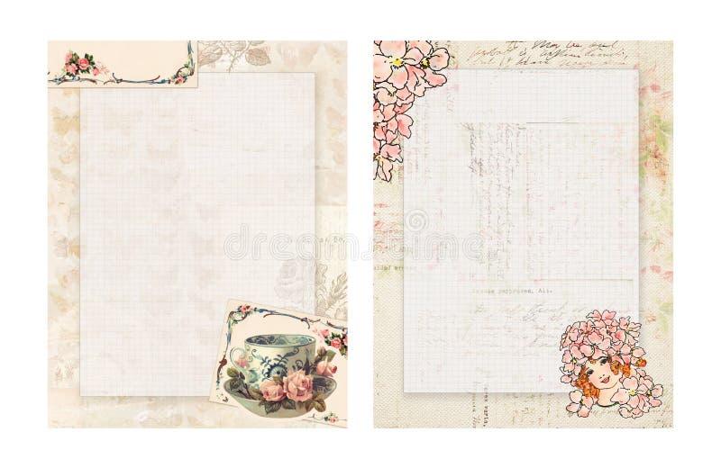 Stationnaire floral de style chic minable imprimable de vintage avec la tasse et la fée de thé illustration libre de droits