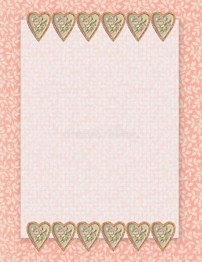 Stationnaire floral de style chic minable imprimable de vintage sur le fond antique de papier d'extrémité de livre de victorian illustration libre de droits