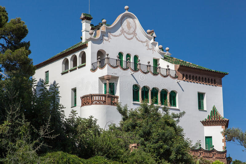 Stationnement Barcelone de Guell de musée d'Antoni Gaudi images stock