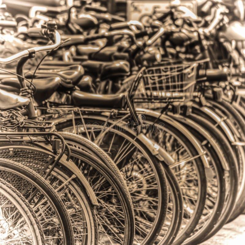 Stationnement de bicyclette à Florence dans le ton de sépia photo libre de droits