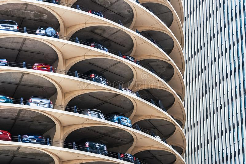Stationnement de spirale de Marina City, Chicago photo stock