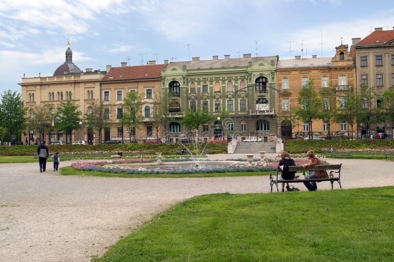 Stationnement de ville à Zagreb photo libre de droits