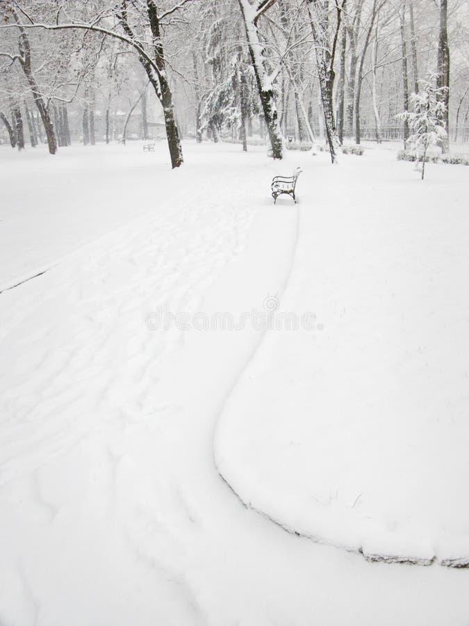 Stationnement en hiver photos stock