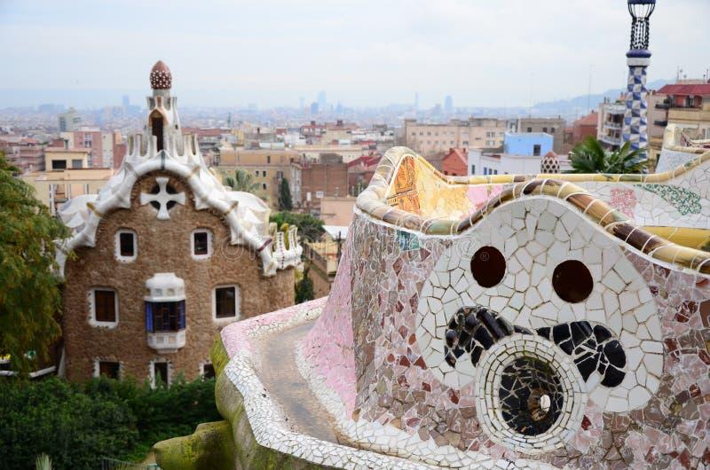 Stationnement Guell à Barcelone, Espagne image libre de droits