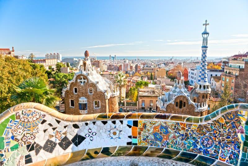 Stationnement Guell à Barcelone, Espagne. images libres de droits