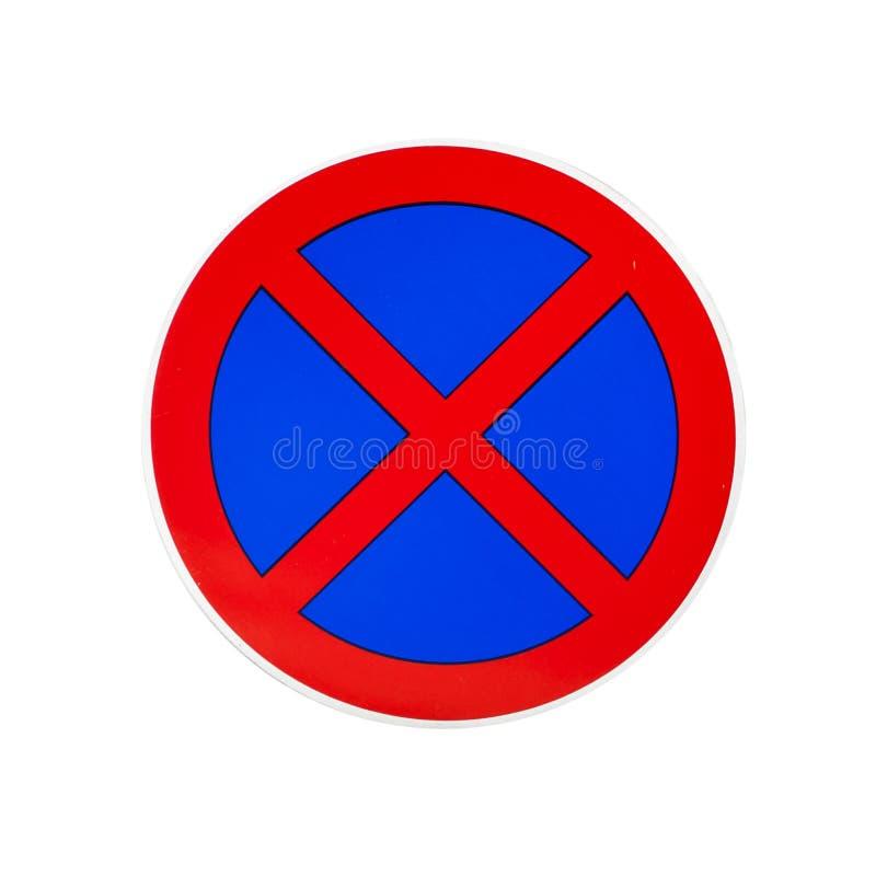 Stationnement interdit et aucun poteau de signalisation de arrêt d'isolement sur le blanc photo stock
