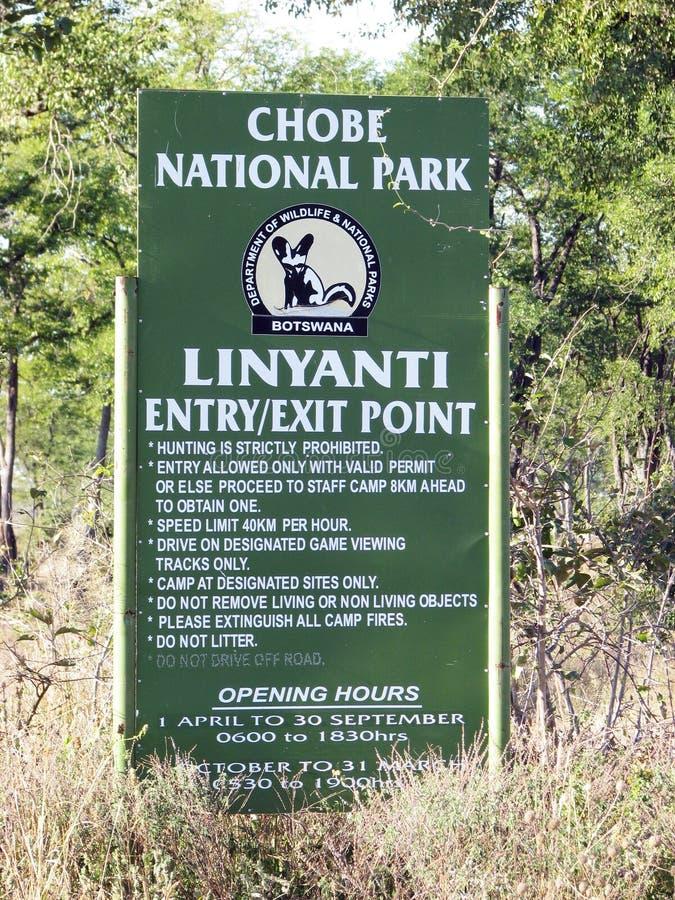 Stationnement national de Chobe, porte de Linyanti photo stock