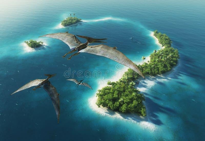 Stationnement naturel de dinosaures. Période jurassique photo libre de droits