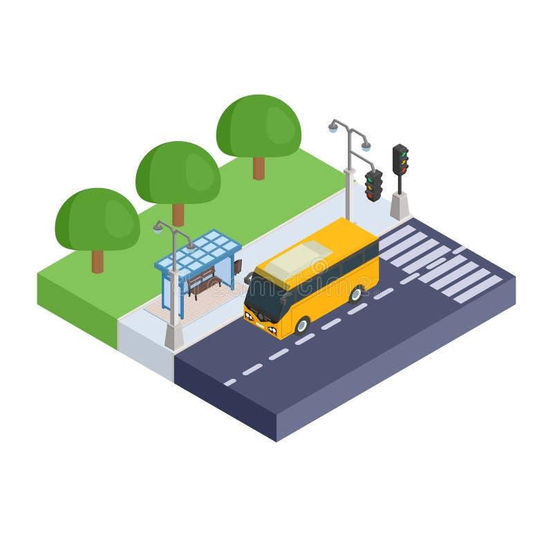 Stations- och gulingbuss för bärande passagerare stock illustrationer