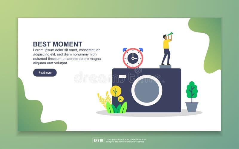 Stationspagina-sjabloon van het beste moment fotografie-concept Moderne platte ontwerpopzet van webpagina's voor websites en mobi stock illustratie