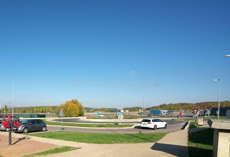 Stationsservice Aire de Metz, helgonprivat, av autorouten A4 i Frankrike fotografering för bildbyråer