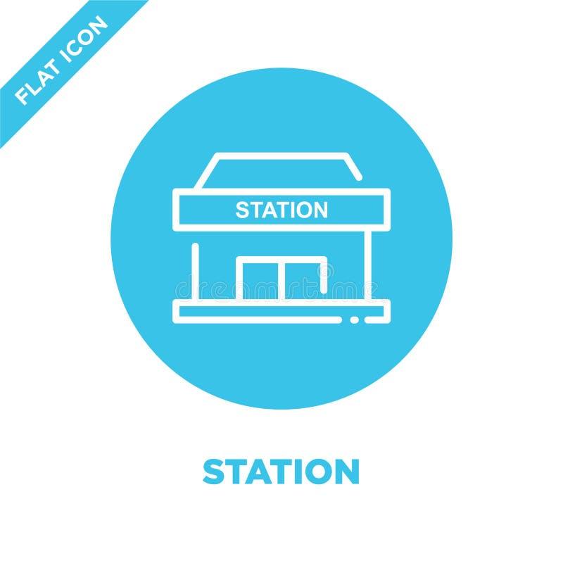 stationssymbolsvektor Tunn linje illustration för vektor för stationsöversiktssymbol stationssymbol för bruk på rengöringsduken o royaltyfri illustrationer