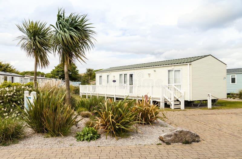 Statischer Wohnwagen Ferienpark Wales G B lizenzfreie stockbilder