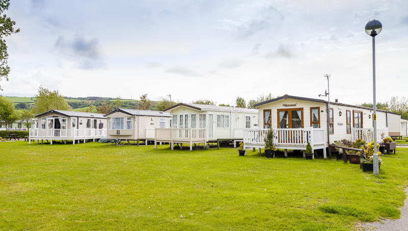 Statischer Wohnwagen Ferienpark Wales G B stockbild