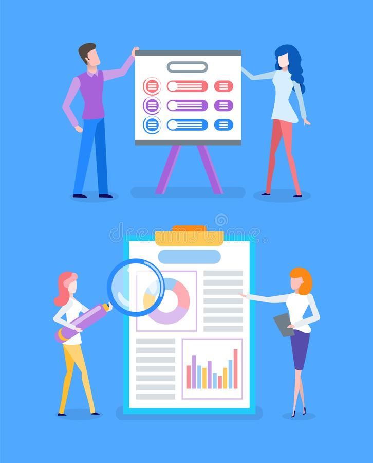 Statisctics of Business Project, Whiteboard Info. Presentation with explanation of infocharts and infographics vector. People working on optimization of business vector illustration
