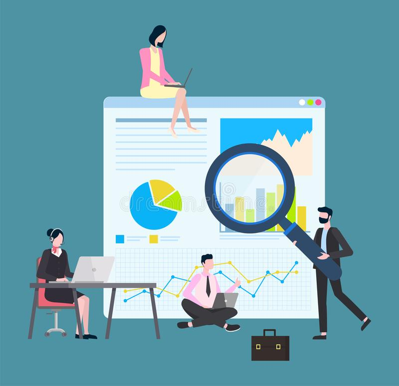 Statistic and Data on Monitor, People Working. Working man and woman vector, business plan and strategy. Secretary looking at computer and typing, cider with royalty free illustration