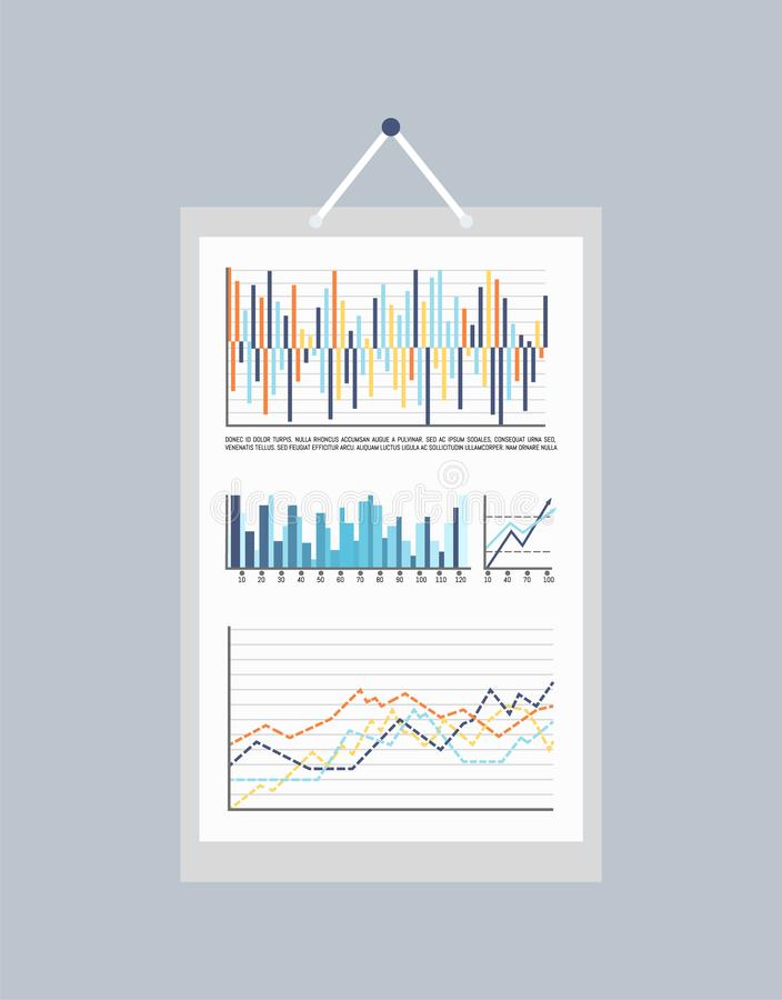 Statistic Infographics and Infocharts on Picture. Vector. Scheme charts templates, diagrams and flowcharts with scales. Graphic info representation royalty free illustration