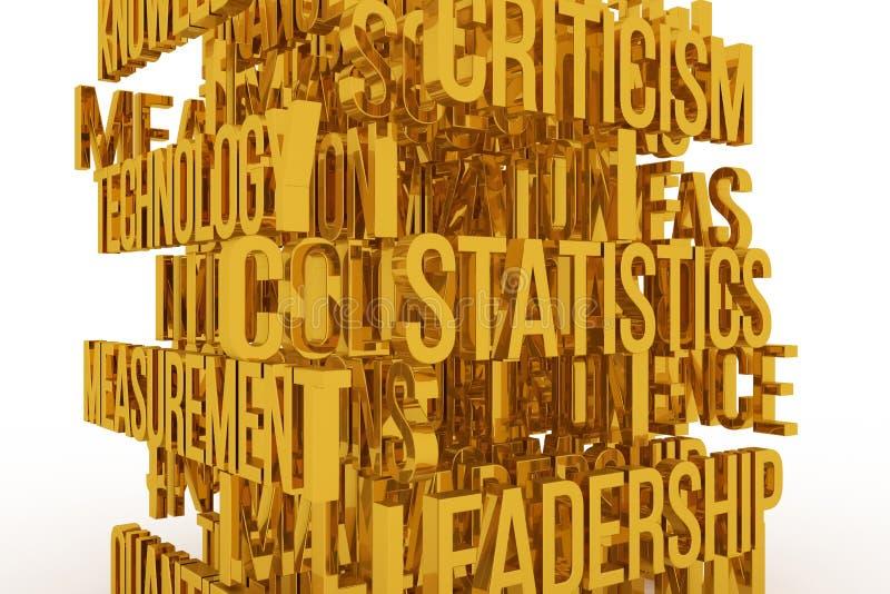 Statistic, Leadership, business conceptual golden 3D rendered words. Typography, positive, title & rendering. Statistic, Leadership, business conceptual golden vector illustration