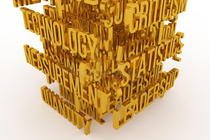 Statistic, Leadership, business conceptual golden 3D rendered words. Web, digital, alphabet & positive. Statistic, Leadership, business conceptual golden 3D vector illustration