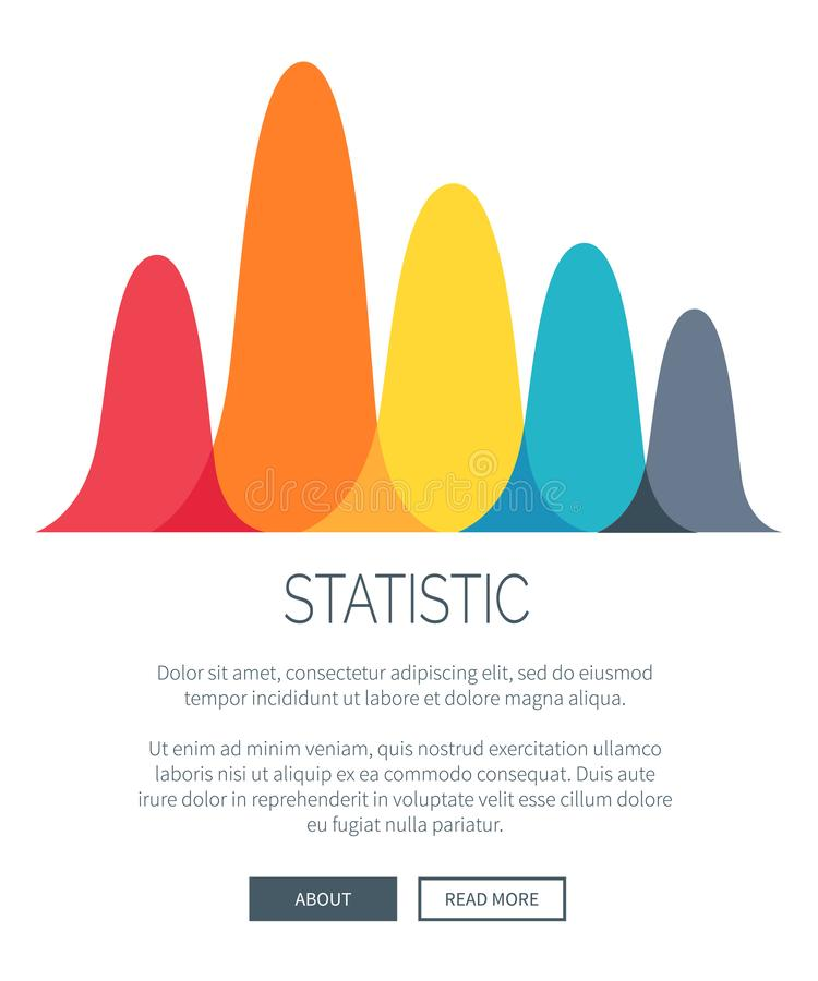 Statistic Presentation with Colorful Bar Graph. Statistic presentation with multicolored bar graph for illustrating data. Vector illustration of chart with room stock illustration