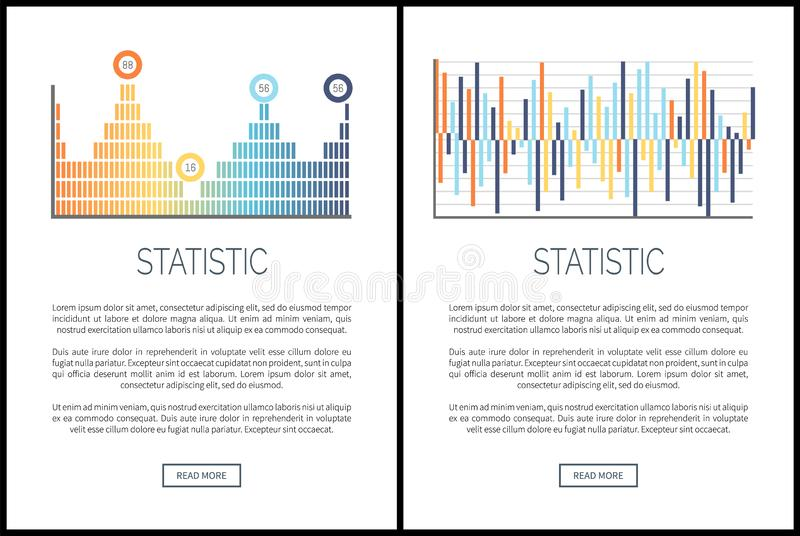 Statistic Web Pages, Diagrams and Info Charts vector illustration